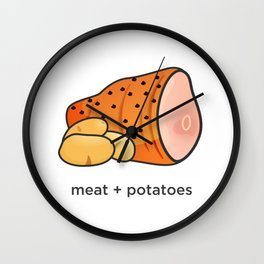 Meat + Potatoes Wall Clock