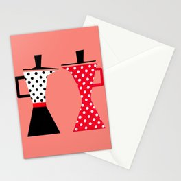 Ole coffee pot in coral Stationery Cards