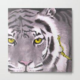 Tiger on a Gold Leash Metal Print