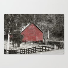 Country Living, Red Barn Canvas Print