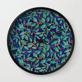 Leaves + Berries in Navy Blue, Teal & Tangerine Wall Clock