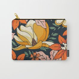 Night Forest, Colorful Dark Eclectic Floral Nature Botanical Jungle Floral Bohemian Illustration Carry-All Pouch