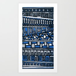 Primitive lino print Art Print