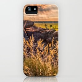 Sunset and Smoke from Controlled Burning at Ubirr Rock, Australia. iPhone Case