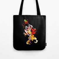 actor Tote Bags featuring Cracked Actor (black) by Ashleigh Hungerford