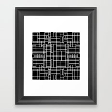 Map Outline White on Black Framed Art Print