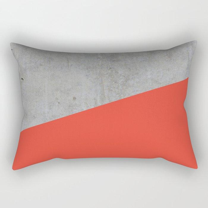 Concrete and Cherry Tomato Color Rectangular Pillow