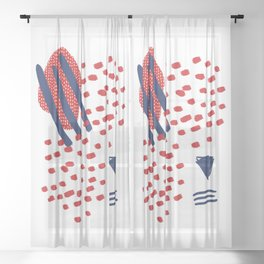 winter red and blue pattern Christmas colors Sheer Curtain