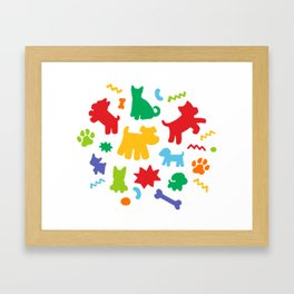 Colorful Dogs Pattern Framed Art Print