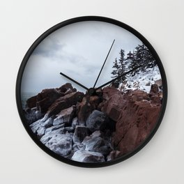 Bass Harbor Lighthouse in the Winter Wall Clock