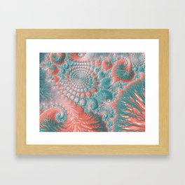 Abstract Living Coral Reef Nautilus Pastel Teal Blue Orange Spiral Swirl Pattern Fractal Fine Art Framed Art Print