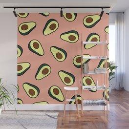 Avocado Pattern in Pink Wall Mural