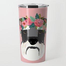 Schnauzer floral crown dog breed pet art schnauzers cute pure breed gifts Travel Mug