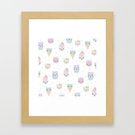 Kawaii breeze summer kitty cupcake cats and snow one ice cream kittens Framed Art Print
