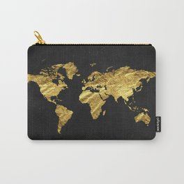Black Gold Decor, Gold World Map, Office Decor, Bathroom, Glam, Black Wall Art Carry-All Pouch