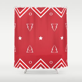 Christmas Tree Pattern #xms #holidays #festive #decor #red #white #kirovair Shower Curtain
