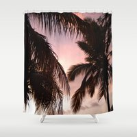 palm trees Shower Curtains featuring palm trees by NatalieBoBatalie