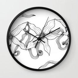 Huia Art Clematis Ribbon Wall Clock