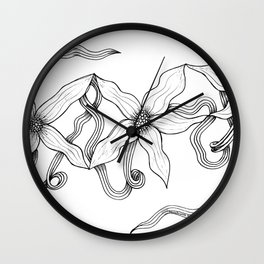 Huia Art Clematis Ribbon Wall Clock
