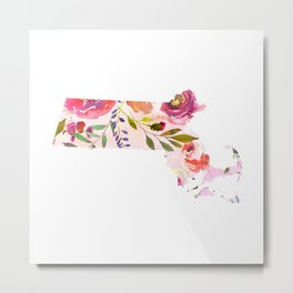 massachusetts pink floral state map watercolor Metal Print