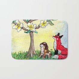 Fox and Bassett Hound Under Magnolia Tree Bath Mat