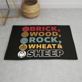 Brick Wood Rock Wheat & Sheep - Board Game Settler Rug