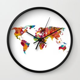 Map of The World 2 -Colorful Abstract Art Wall Clock