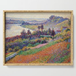"""Gorgeous French Countryside Landscape """"La Senna"""" by Maximilien Luce, 1890 Serving Tray"""
