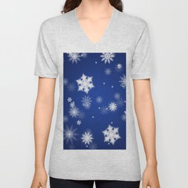 Winter / Christmas Blue and White Snowflakes Unisex V-Neck