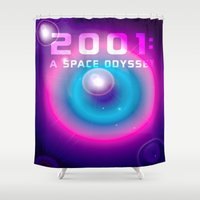 2001 Shower Curtains featuring 2001 a Space Odyssey by Scar Design