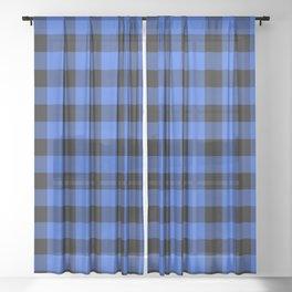 Royal Blue and Black Lumberjack Buffalo Plaid Fabric Sheer Curtain