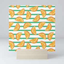 Summer beach vibes orange striped pattern Mini Art Print