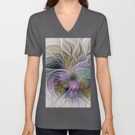 Abstract Flower, Colorful Floral Fractal Art Unisex V-Neck