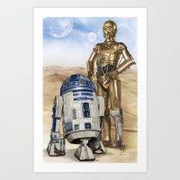 starwars Art Prints featuring StarWars Droids by Alex Heuchert