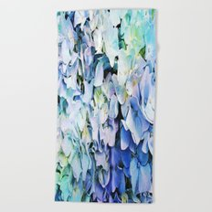 Soft Tri-Color Pastel Hydrangea Beach Towel
