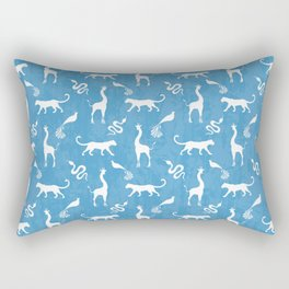 Animal kingdom. White silhouettes of wild animals. African giraffes, leopards, cheetahs. snakes, exotic tropical birds. Tribal primitive ethnic nature blue grunge distressed pattern. Rectangular Pillow