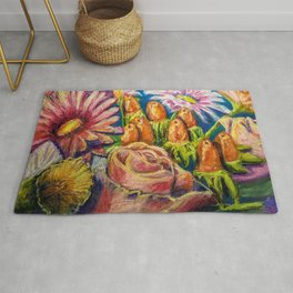 Floral Pastel Painting Rug
