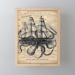 Octopus Kraken attacking Ship Antique Almanac Paper Framed Mini Art Print