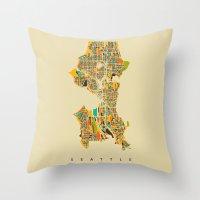 seattle Throw Pillows featuring Seattle by Nicksman
