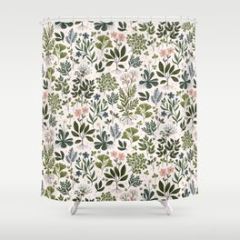 Herbarium ~ vintage inspired botanical art print ~ white Shower Curtain