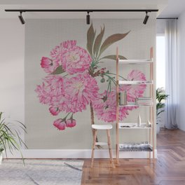 Barrier Mountain Cherry Blossoms Watercolor Wall Mural