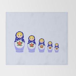 Blue russian matryoshka nesting dolls Throw Blanket