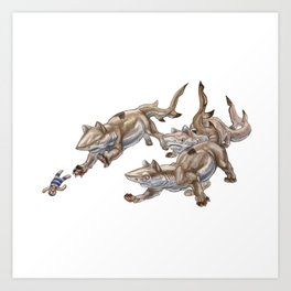 Black Tip Shark Cat Kittens :: Series 2 Art Print