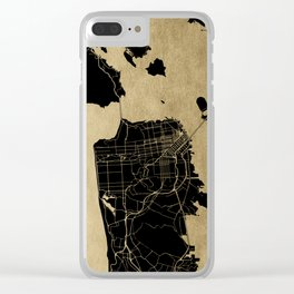 San Francisco California Black and Gold Map Clear iPhone Case