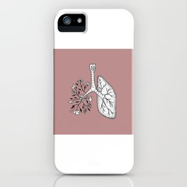 Floral Lung Illustration — Half Floral Human Lung Anatomy Design iPhone Case