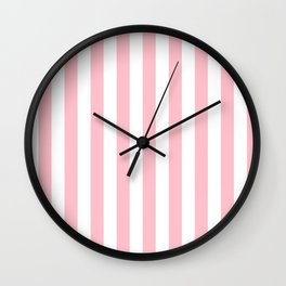 Narrow Vertical Stripes - White and Pink Wall Clock