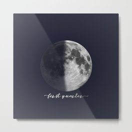 First Quarter Moon on Navy English Metal Print