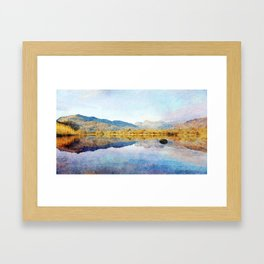 Calm reflections on Derwentwater in the Lake District, Cumbria, UK. Watercolour Painting. Framed Art Print
