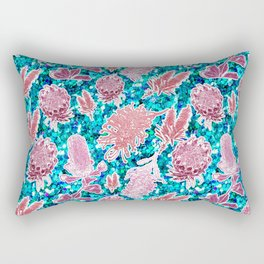 Pink and blue glittery australian native floral print Rectangular Pillow