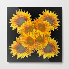 Golden Yellow Sunflowers on Black Color Metal Print